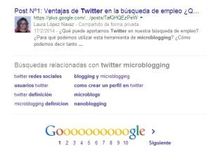 Wordpress también posiciona pero sigue saliendo el perfil de twitter como primer resultado